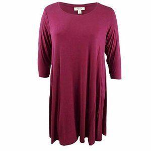 Style & Co 0X Burgundy Red Knit Dress NWT N53